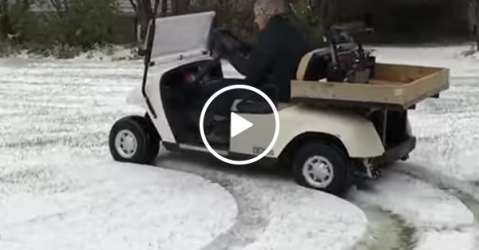 91-year-old Grandma drifts in golf cart (Video)