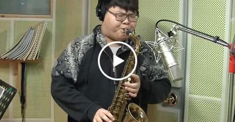 Kid nails Livin' on a Prayer sax cover