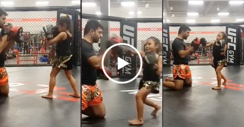 Little girl trades in babies for kick boxing and I'm not scared, you are!