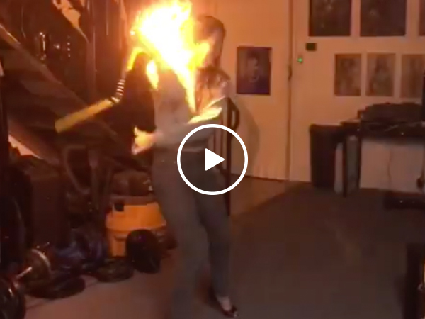 Mixing nunchucks and fire, what could go wrong? (Video)