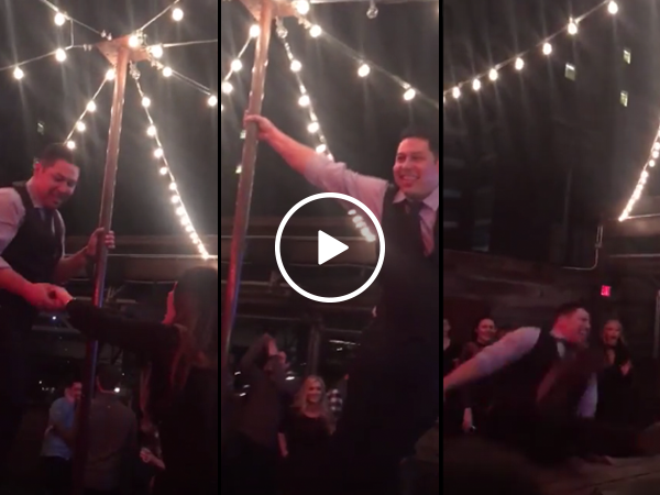 Drunk man attempts pole dance on table and fails miserably(Video)