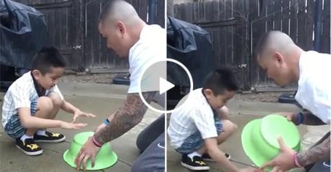Savage dad tricks son into grabbing fresh turd, son gets revenge (Video)