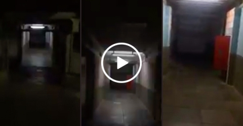 Security guard walks into a (haunted?) hallway of pure NOPE (Video)