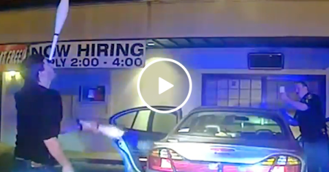 Student juggles to prove sobriety to officers (Video)