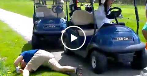 Golfer crashes through front window of golf cart (Video)