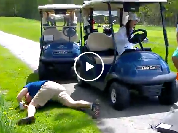 Golfer crashes through front window of golf cart (Video)