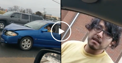 Guy catches hit and run suspect red handed (Video)