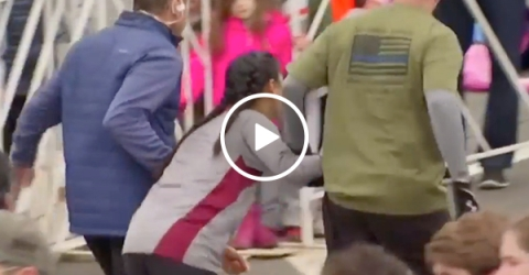 Two guys jump in to help distressed girl at half marathon
