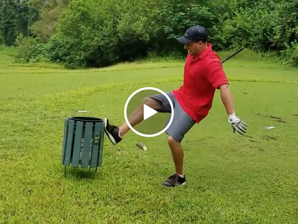 Guy rage quits while playing golf (Video)