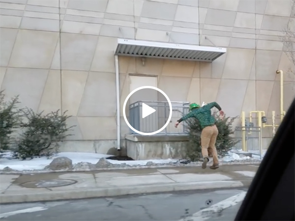 Drunk guy frolics home after St. Paddy's Day