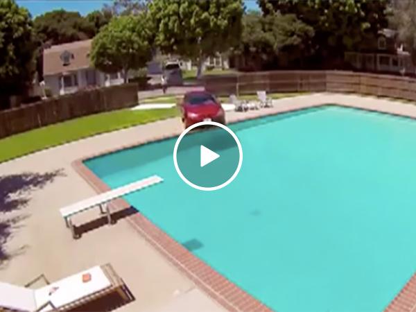 Car crashes into neighbor's pool
