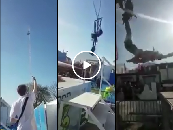 Scary moment woman almost dies at fair on swinging attraction (Video)