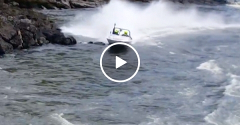 Maybe don't take your speed boat so close to the rocks (Video)