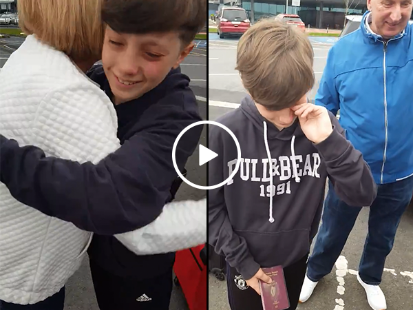 Boy has emotional reaction to surprise trip to Spain (Video)