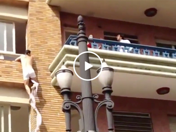 Acrobatic cheater escapes through second-story window during rush hour (Video)
