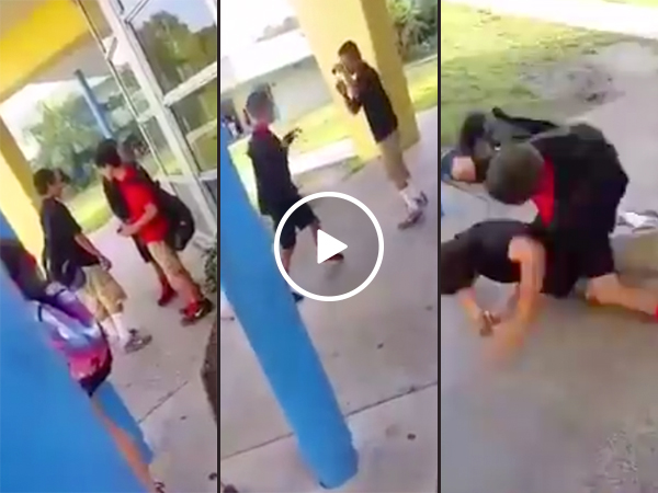 Bully picks a fight with a smaller kid... who knows MMA (Video)