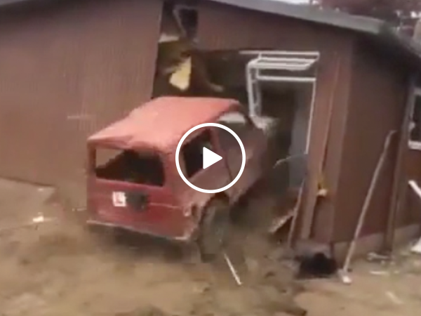 Man destroys house with his car (Video)