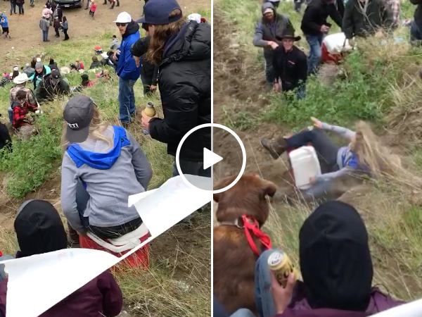 Girl tries riding cooler down hill and goes for a tumble