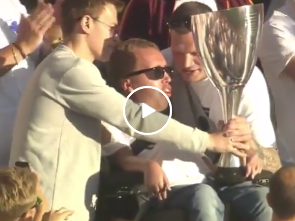 Fan steals Danish Cup Trophy for good cause (Video)