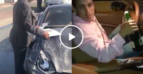 Drunk Moroccan rich kid gets away with wrecking Ferrari (Video)