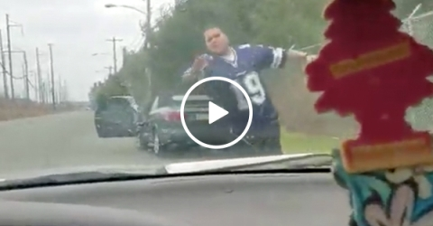 Eagles fans try to run over a Cowboys fan in broad daylight (Video)