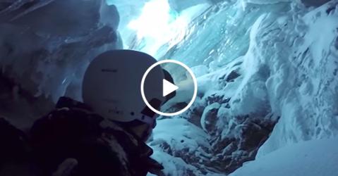 Incredible helmet cam footage of skier falling down hole (Video)