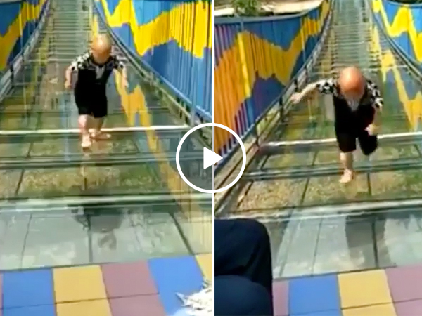 Guy needing traction vs. a glass bridge (Video)