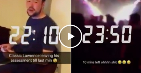 Guy tries turning in his Final, friends have other plans... (Video)