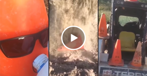 Aussie man pretends to have killed his traffic cone (Video)