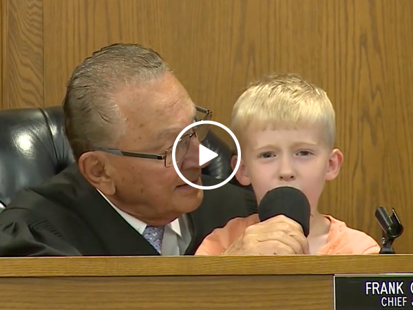 Little boy decides his father's parking fine in court (Video)