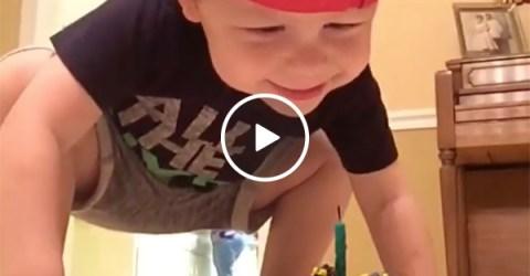 Kid has cute celebration over soccer trick shot