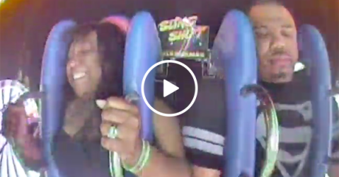 Guy freaks out on ride after talking a big game (Video)