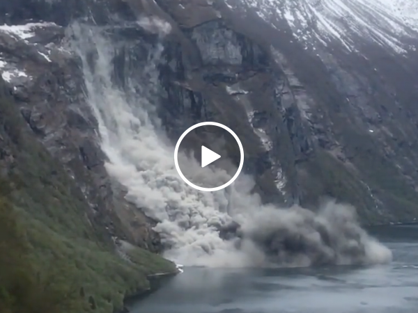 Tourists capture epic rock slide in Norway (Video)