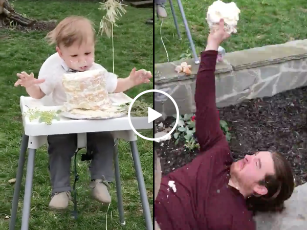 Uncle makes diving finger tip catch on birthday cake (Video)