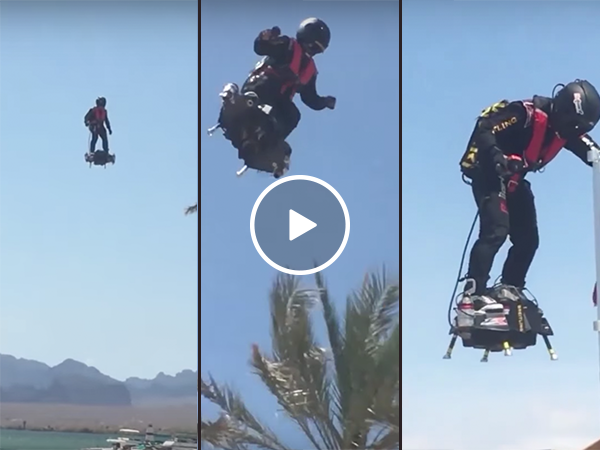 Man rides incredible flyboard in Arizona (Video)