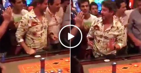 Ballsy guys throws down $100K on one number in roulette (Video)
