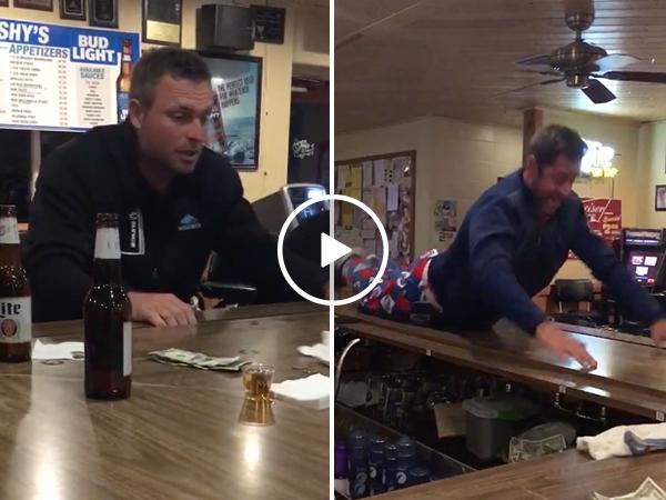 Man slips off bar in hilarious fail (Video)