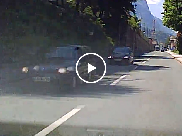 Parked car rolls down hill
