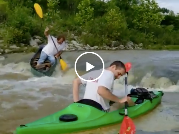 Canoeing down a waterfall shouldn't be this hard (Video)