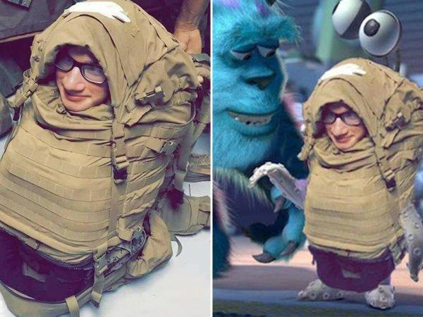 US Marine stuffed into backpack gets Photoshopped (19 Photos)