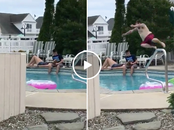 Dad cannonballs son and his girlfriend