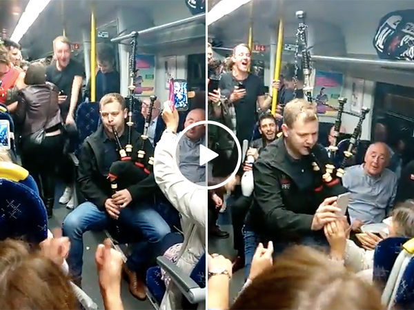 Bagpiper starts party on train
