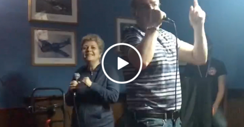 Older couple nails Like a G6 Karaoke (Video)