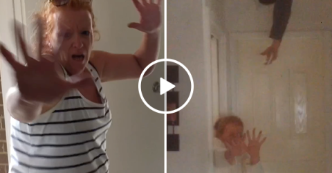 Sons scare mom for three years filming her hilarious reactions (Video)
