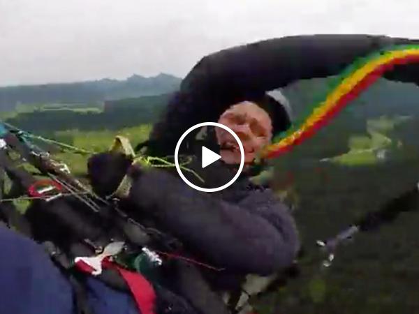 Paraglider makes terrifying plummet to Earth when parachute fails (Video)