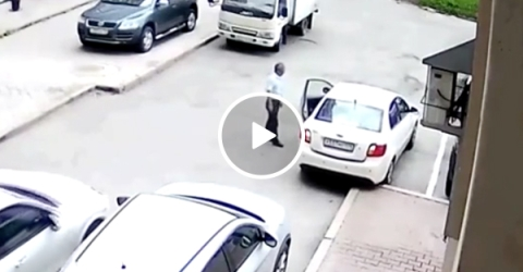 Woman crashes trying to park her car