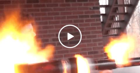 Guy turns potato gun into potato cannon