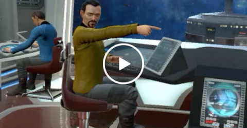 VR Star Trek gamers have hilarious reaction when girl enters the room (Video)
