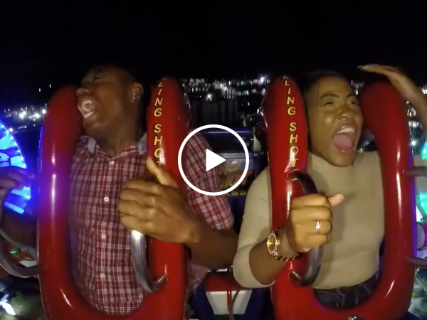 Man cries after terrifying prank on slingshot ride (Video)