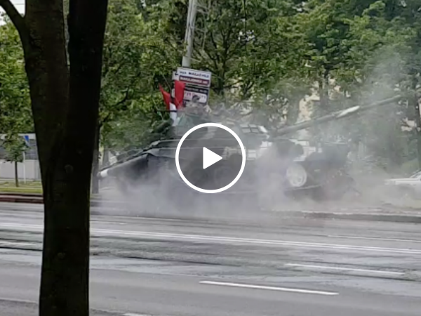 Tank drifts out of control into electrical pole